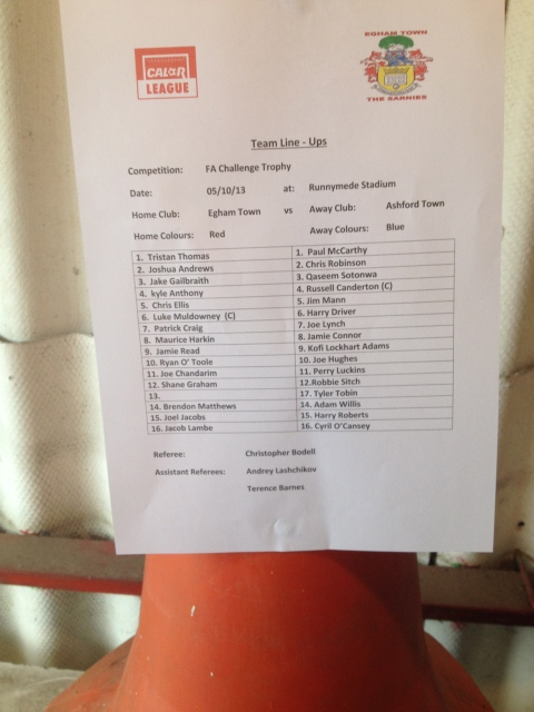 The team sheet...