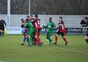 Players from both sides clash in an incident which saw three dismissed. Pic: Thame Gazzette