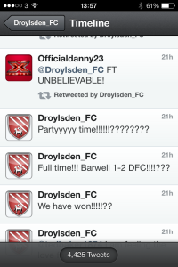 The tweets showing Droylsden had won...