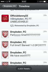 The tweets showing Droylsden had won...