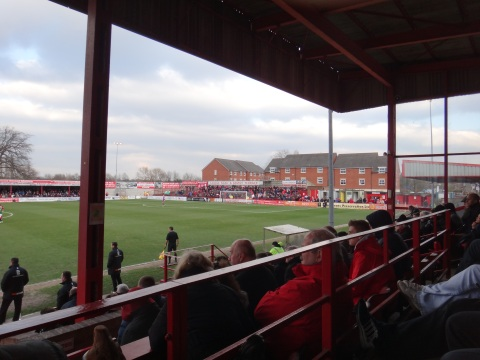 Looking across to the Golf Road End, with its contingent of jubilant Wrexham fans