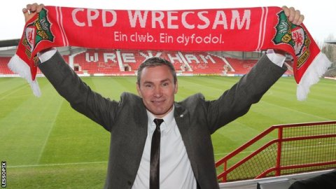 Happier times: Kevin Wilkin after his appointment at Wrexham