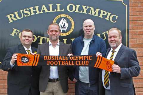 Richard Sneekes (second left) is presented as Rushall's new manager