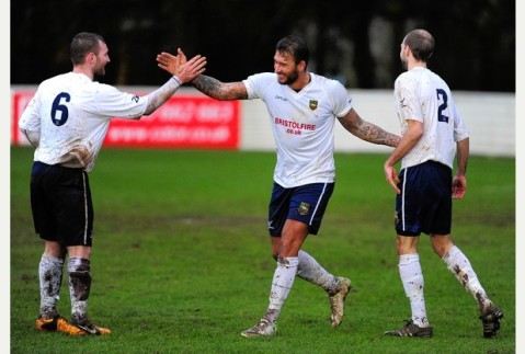 Lewis celebrating scoring for Yate Town